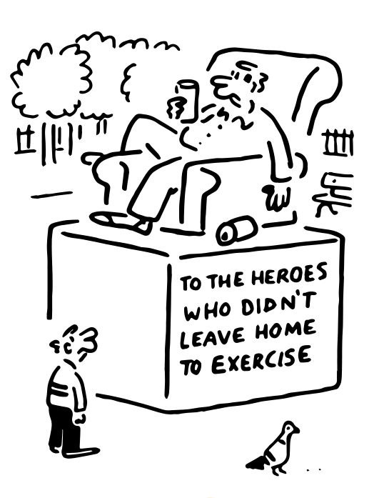 """Covid Cartoon """"Heroes who didn't leave home to exercise"""""""